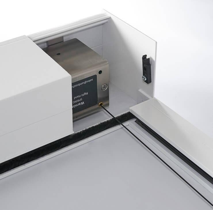 KuroLok RL zipped edge rooflight blind system tension box close up