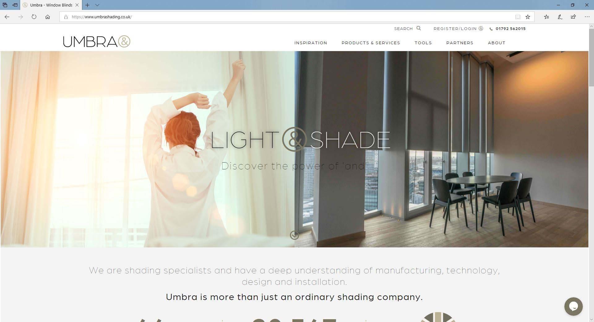 umbra website main page