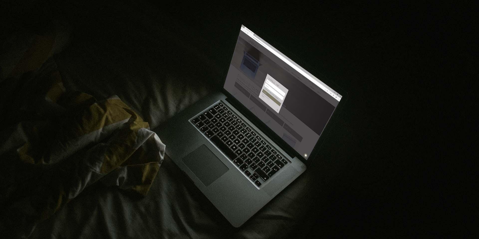 login box on umbra website on laptop screen